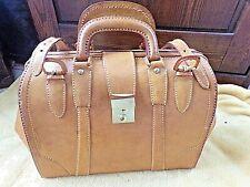 Grand  sac à main vintage en cuir épais surpiqué-travail artisanal/fait main