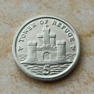 A Isle of Man Tower Of Refuge Collectible 5 Pence Coin