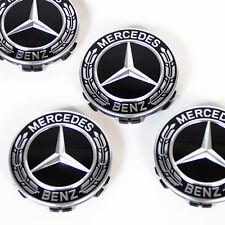 Original Mercedes-Benz Nabendeckel Satz Radnabendeckel Lorbeerkranz schwarz NEU