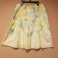 Sigrid Olsen Women's Skirt Green Yellow Floral Print Pleated Size 10 NWOT