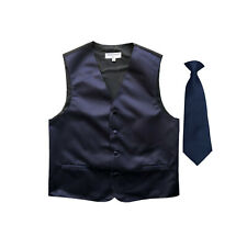 New Boy's Kid's formal Tuxedo Vest Waistcoat & Necktie Navy blue US size 2-14
