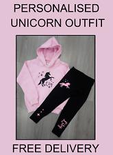 GIRLS UNICORN SET Baby Pink Hoody & Black Leggings Personalised FREE