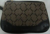 LONGABERGER WRISTLET OR WALLET BROWN DIAMOND PATTERN WITH BLACK TRIM EUC