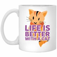 Cat Lover Coffee Mug Life Is Better With A Cat  Coffee Mugs Gift For Cat Owners