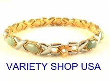 "Alloy Magnetic Bracelet 7.5"" Hugs & Kisses Silver X's with Jade O's 5029J"