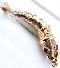 """9k Pink synthetic stone """"Fish"""" Pendant_375 yellow gold_articulated fish"""