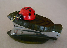 Vintage Wooden Ladybug on a Leaf Mini Stapler Japan MCM Vandor