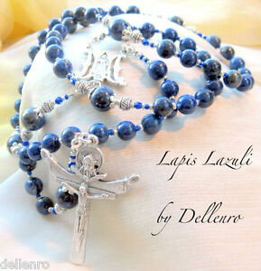 ✫ LAPIS LAZULI ✫ BLUE GEMSTONE HANDCRAFTED FIVE DECADE ROSARY (Boxed)