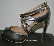 NIB EMPORIO ARMANI $695 LEATHER PUMPS SHOES SZ US 8.5 EU 38.5 MADE IN ITALY