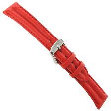 18mm Morellato Leather Double Ridge Carbon Fiber Grain Bright Red Watch Band