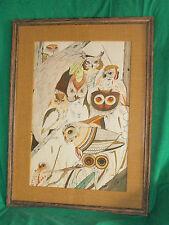 ANN MALONEY ORIGINAL ART WATER COLOR GOUACHE PAINTING FARM BARN OWL BIRD CANADA