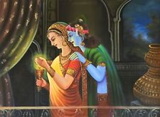 Krishna Radha Hindu Handmade Painting Indian Portrait Oil on Canvas Decor Art