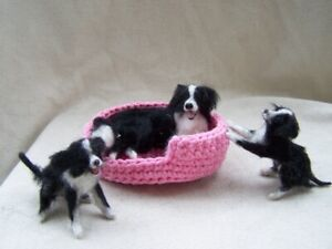Miniature Dollhouse  border collie puppies and mother by Malga