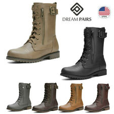 DREAM PAIRS Women Winter Faux Fur Mid Calf Lace Up Military Combat Boots