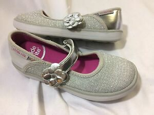 Stride Rite Marleigh Sparkly Girls Mary Jane Shoe Silver special occasions US 7