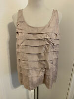 Eileen Fisher Silk Habutai Tank Top Tiered Layered Scoop Neck Pink PM NWT