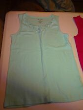 White Stag Tank Top Camisole Cami Size Small Mint Green Lace at Neck Cotton