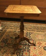 Antique 19th Century Italian Inlaid Chess Game Side Table W/label
