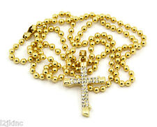 Cross Piece Charm Mini Micro Pendant Ball Chain Necklace Jewelry Gold Plated 006