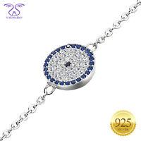 "SEMAID 925 Sterling Silver Bracelet Round Evil Eye Blue CZs Chain Adjusted 7""+2"""