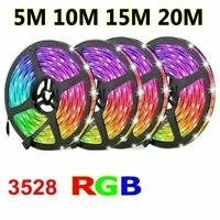 5M/10M/15M/20M RGB LED Strip Lights 3528 SMD Flexible Home Car Decor 60LEDs/M