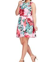 Taylor Dresses Sleeveless Pink Floral Fit And Flare Dress With Pockets Size 14W