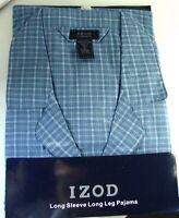 IZOD Blue PLAID Cotton Summer PJs PAJAMAS Set Mens size XL NWT NEW