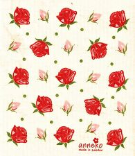 "Swedish Dish Cloth ""Red Roses""  New Made in Sweden, Anneko 6.75"" X 8"""