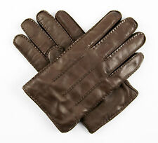 New BRIONI Italy Brown Handmade Leather Cashmere Lined Winter Gloves M 8.5 $695!