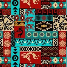Fabric Western Aztec Kokopelli Patchwork Red Turquoise Color Cotton 1/4 yard