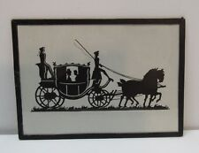 Silhouette Picture Horse and Carriage Driver and Guard Woman Man Vintage