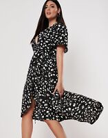 BNWT MISSGUIDED Black ditsy floral hi low midi wrap dress size 12 euro 40 NEW