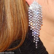 Wedding Bridal Silver Clear Rhinestone Chandelier 4 Long Clip Earrings 42