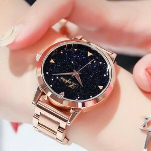 Ladies Women Girls Watches ROSE GOLD Chronograph Designer Starry Analogue Watch