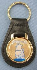 Vintage Plymouth SHIP Black Leather USA Goldtone Keyring Key Fob