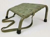 Mid-Century Aluminum Webbed Footstool Ottoman Beach Camping Patio Vintage