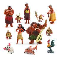 12pcs Moana Figures Kids Figurines Princess Toys Cake Topper Model PVC Decor