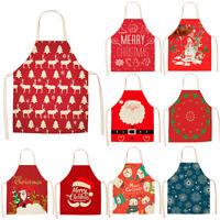 Merry Christmas Cotton Linen Women Apron Kitchen Restaurant Cooking Bib Aprons