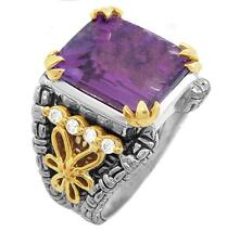 Philip Andre 18k Gold & Sterling Silver Diamond & Amethyst Ring size 7