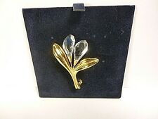 SWAROVSKI CUT CRYSTAL GOLD TONE CALLA LILLY SIGNED BROOCH PIN WITH BOX