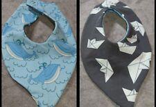 DaWanda Baby  Halstuch / Wendetuch hellblau, grau Wal Papierschiffchen Jersey