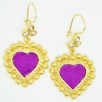 Aylas ottoman gold plated semi precious gem stone earrings Pearl velvet
