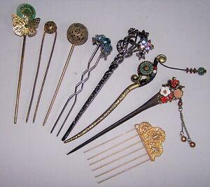 Vintage Metal Kanzashi Hair Sticks and Comb