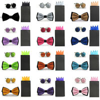 New Men Double Color Bowtie Pre-folded 4 Folds Hanky Pocket Square Cufflinks Set