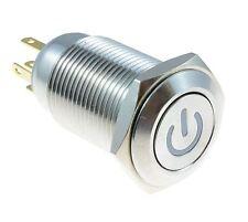 Blue Angel Ojo Metal Power Led momentáneo de 16 mm botón interruptor 12v SPST