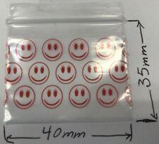100 Nueva 40x35 mm Smiley pequeño Smiley Bolsas de Plástico Seal Holgado Agarre Cremallera 4x3.5 Cm