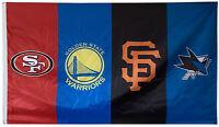 SF Giants & SF 49ers & Golden State Warriors & San Jose Sharks flag 3X5FT banner