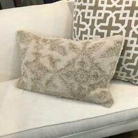 Pottery Barn Kacey Lumbar Pillow Cover Flax 16x26 Embroidered Neutral New