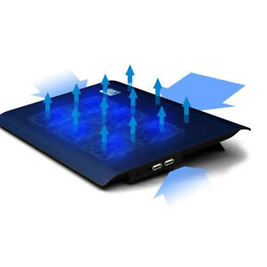 """Quiet Laptop Cooler 6 Powerful Fans Gaming Cooling Mat Pad Stand Tilt for 12-17"""""""