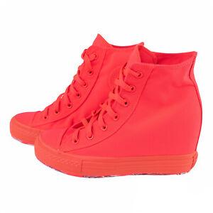 Converse Chuck Taylor All Star Platform Plus Hidden Heel Wedge H Pink Red Sz 9